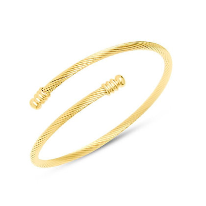 Simple Small Bulb Opening Bracelet - Gold