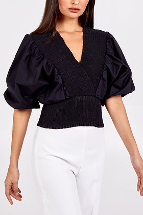 QED Puff Sleeve Cross Over Shirred Top