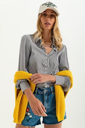 Volume Sleeve Shirt - Grey Stripe Print