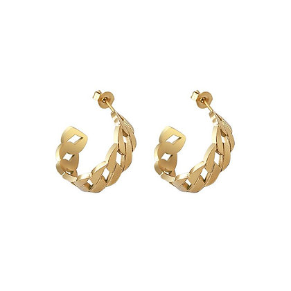 Woven Hollow Ring Earrings - Gold or Rose Gold