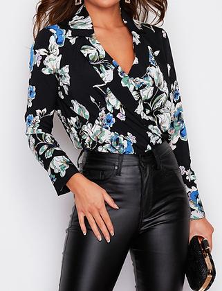 Girl In Mind Gemma Wrap Collar Bodysuit Black Floral