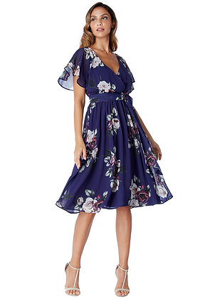 City Goddess Floral Print Midi Dress with Flutter Sleeves