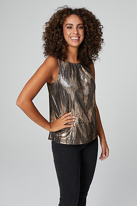 Stella Gold Ruched Neck Sleeveless Top