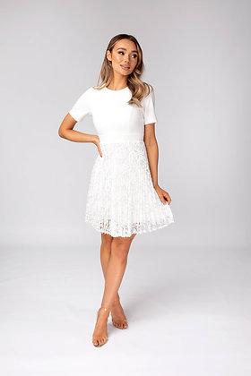 Skirt & Stiletto Aviana Short Sleeve Lace Skater Dress - White