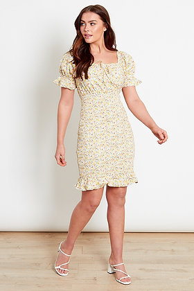 Influence Ditsy Cotton Ruched Mini Dress