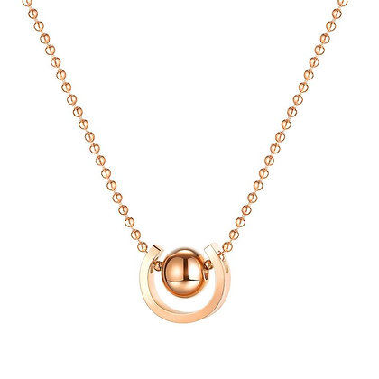 C-shaped Round Bead Simple Necklace - Rose Gold