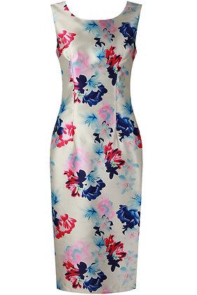 Dishiki White Contrast Floral Print Midi Dress