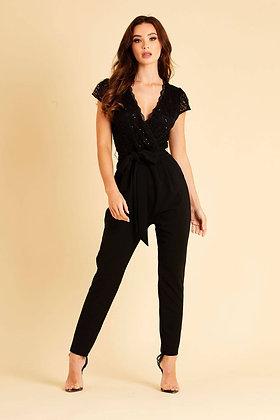Skirt & Stiletto Ciara Lace Jumpsuit with Belt - Black