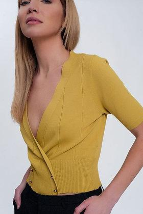 Knit button through cardi top - yellow / green