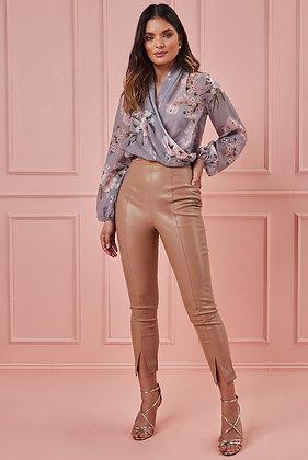 Goddiva Wrap Style Long Sleeve Floral Top