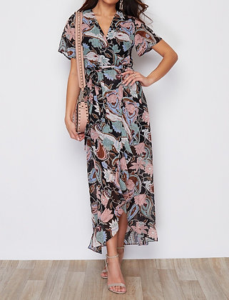 Girl In Mind Farren Split Hem Frill Detail Maxi Dress Paisley Print
