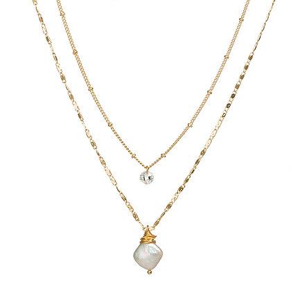 Elegant Baroque Pearl Pendant Necklace - Gold