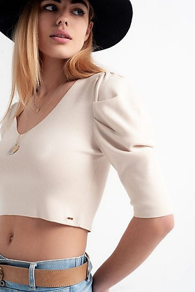 Sweater with short puff sleeves - beige