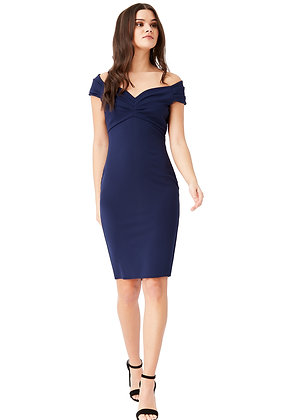 City Goddess Fitted Off The Shoulder Midi Dress