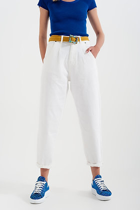 High Rise Mom Jeans with Pleat Front - White