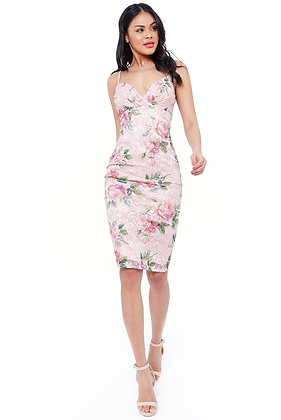 City Goddess Pleated Bust Floral Midi Dress