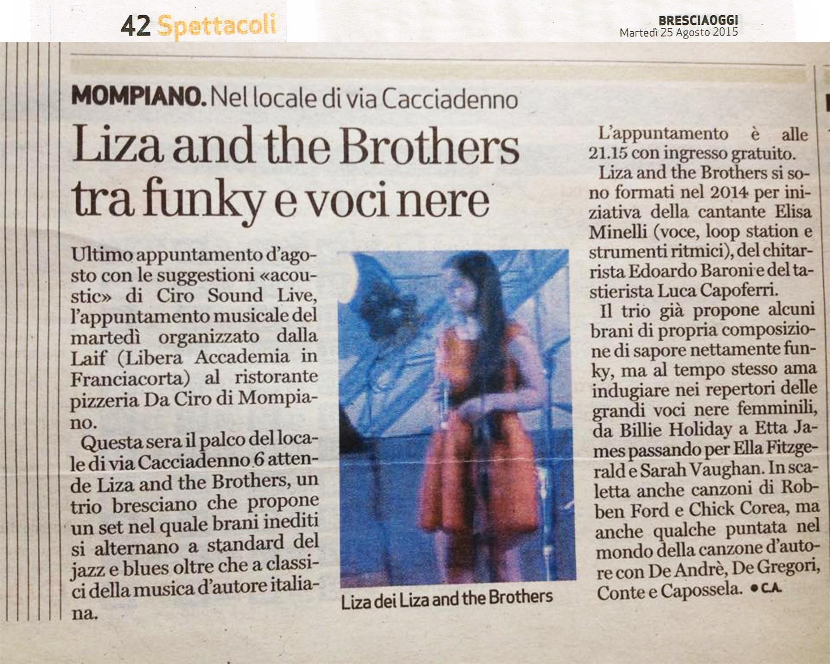 Bresciaoggi - Liza & The Brothers