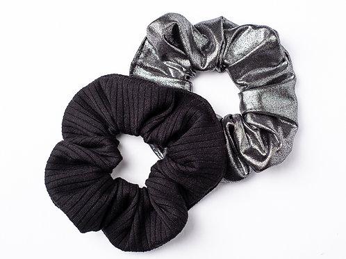 Scrunchie - Black Rib or Silver Stretch