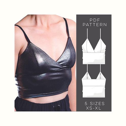 Bralette Pdf Pattern & Tutorial, Digital Download, 5 Sizes XS - XL