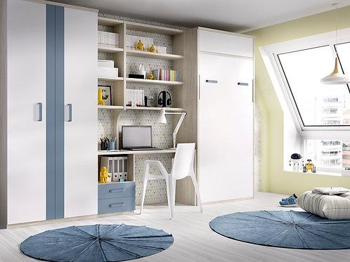 Cama abatível vertical + secretária + estante H 409