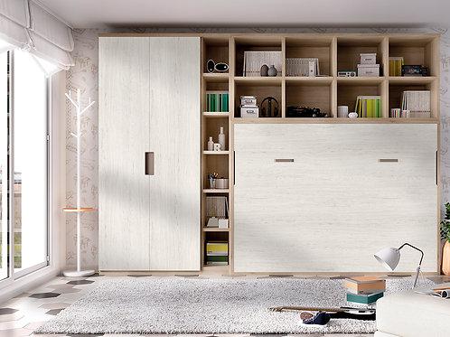 H412 - Cama abatível horizontal + roupeiro + estante