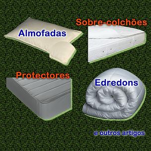 Complementos para descanso: almofadas, sobre-colchões, protectores e edredons.