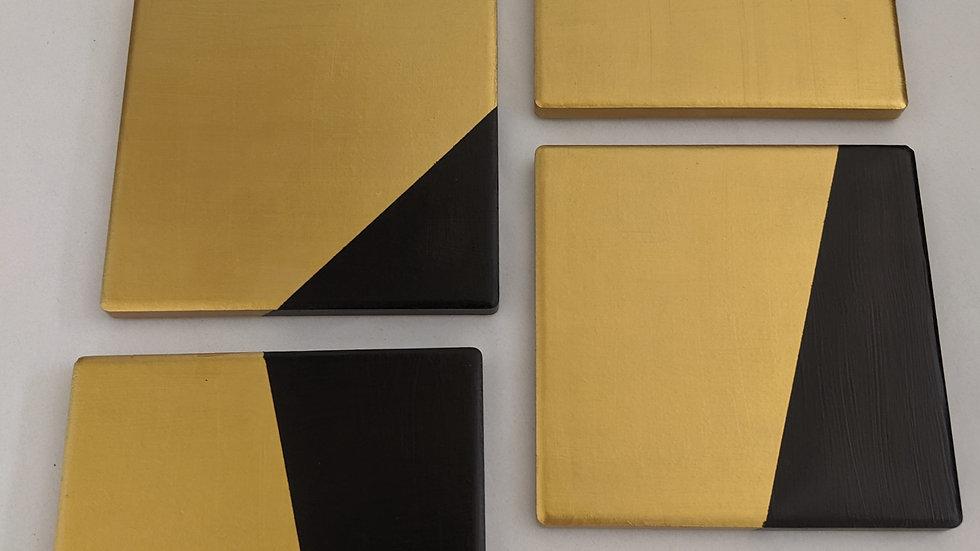 Square Black & Gold Coasters (Set of 4)