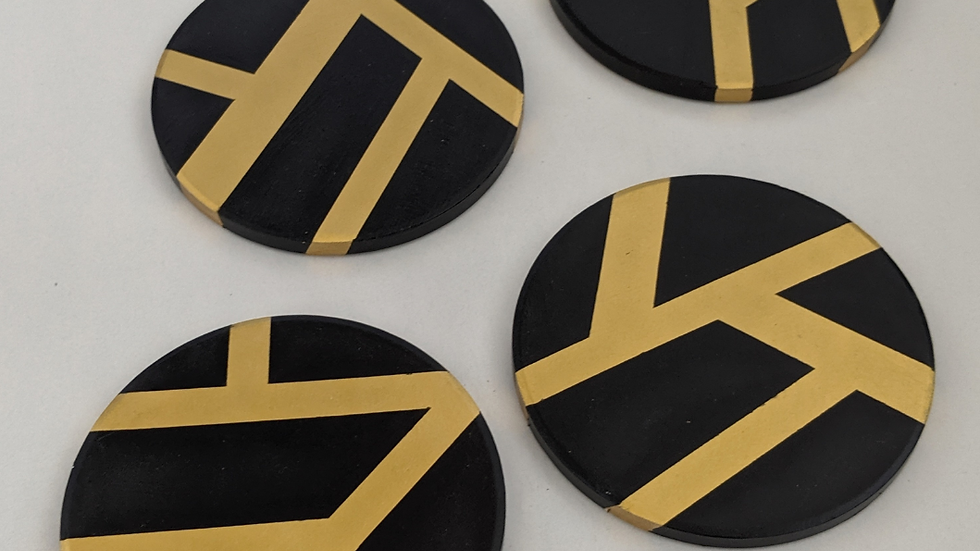 Black & Gold Coasters (Set of 4)