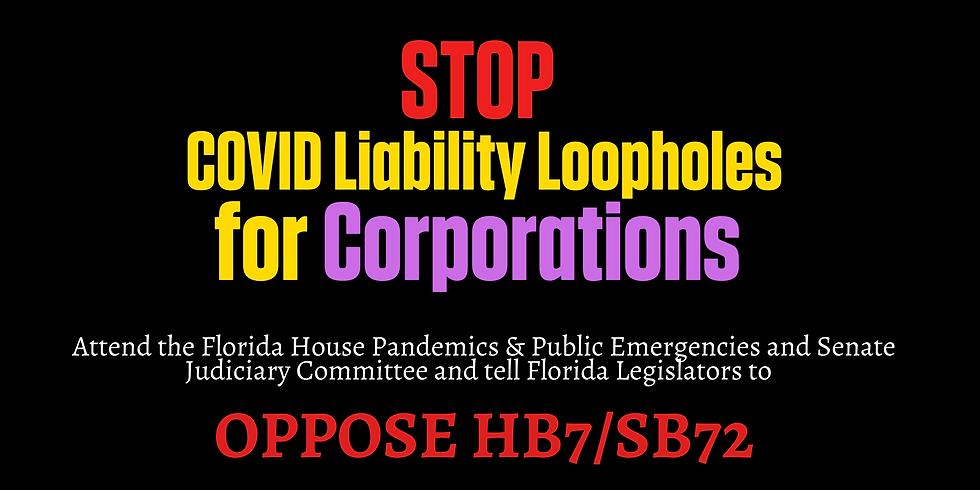 Testify Against SB72 (COVID Liability Immunity) at FL Senate Judiciary Committee