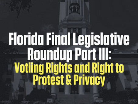 FL Leg Roundup Part III: Voting Rights, Right to Protest & Privacy