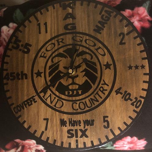 MAGA pine wood clock
