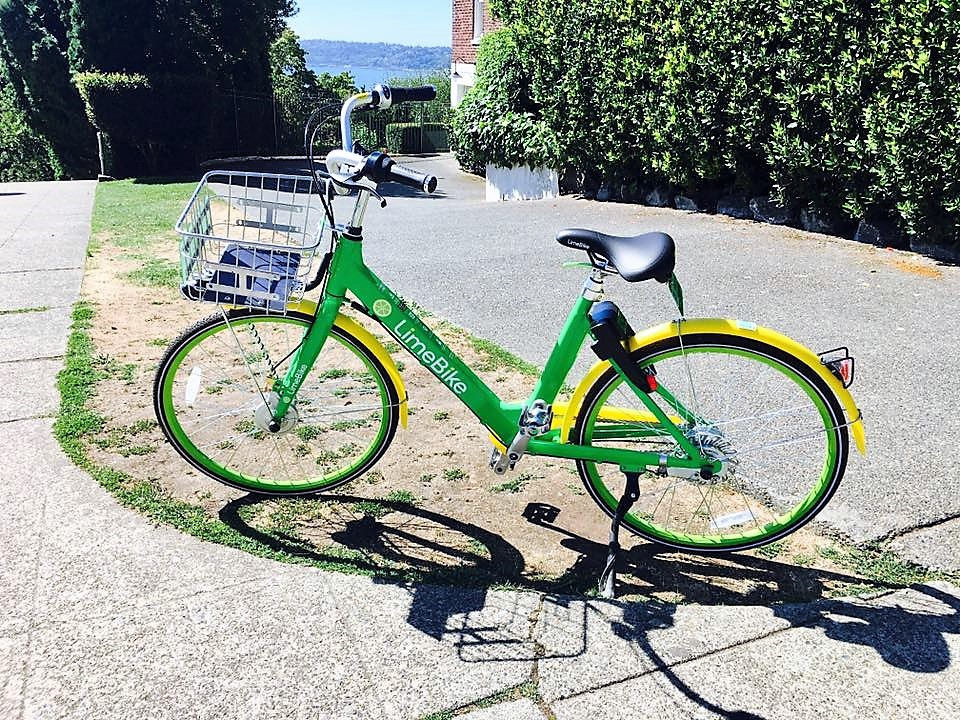 LimeBike Parked by the bike path