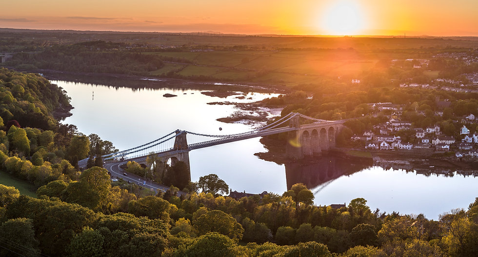 Menai Bridge at sunset