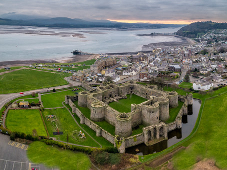 Beaumaris Castle and allotments by drone.