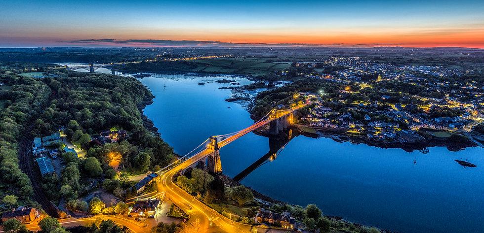 Menai & Britannia Bridge at Night