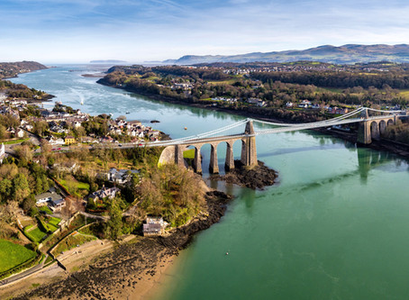 Drone filming, Menai Strait, Anglesey,