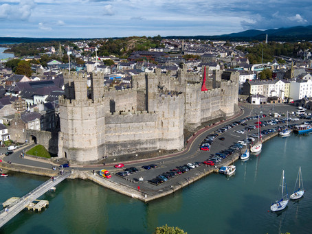 Weeping Window - Caernarfon Castle by drone, North Wales