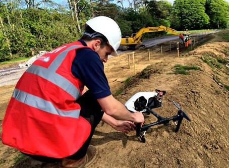 OffTheGround capturing key construction milestones of the new Llangefni Link road.