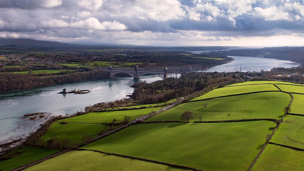 Britannia Bridge, Menai Strait, Aerial photography, Drone, Anglesey, Gwynedd