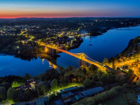 Menai Bridge At Night By Drone