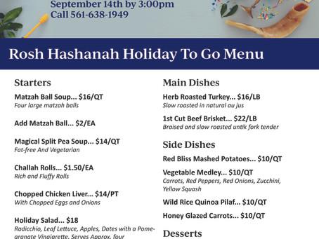 Rosh Hashanah To-Go A La Carte Menu | Delray Beach 2020
