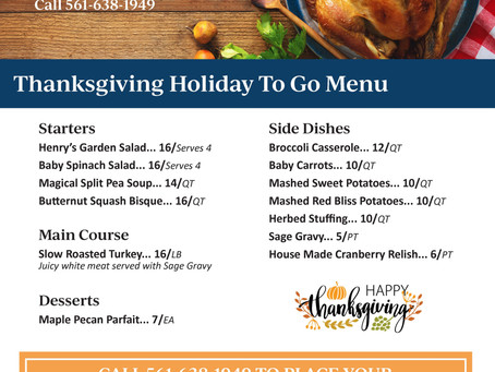 Thanksgiving Family Style To-Go | Restaurant Delray Beach 2020