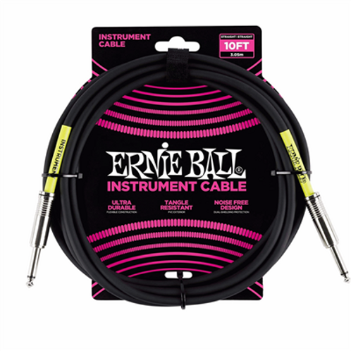 Ernie Ball INSTRUMENT CABLE SS BLACK 10FT