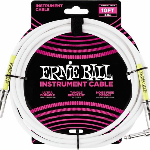 Ernie Ball INSTRUMENT CABLE SA WHITE 10FT