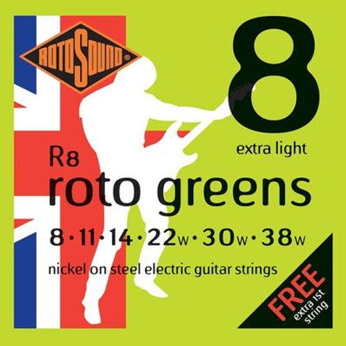 Rotosound Roto Greens 08-38 Extra Light Nickel Electric Guitar Strings R8