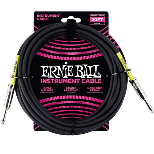 Ernie Ball 20ft Straight-Angle Braided Instrument Cable, Black/yellow