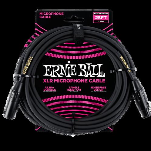 Ernie Ball 25ft XLR Mic Cable, Black/Gold