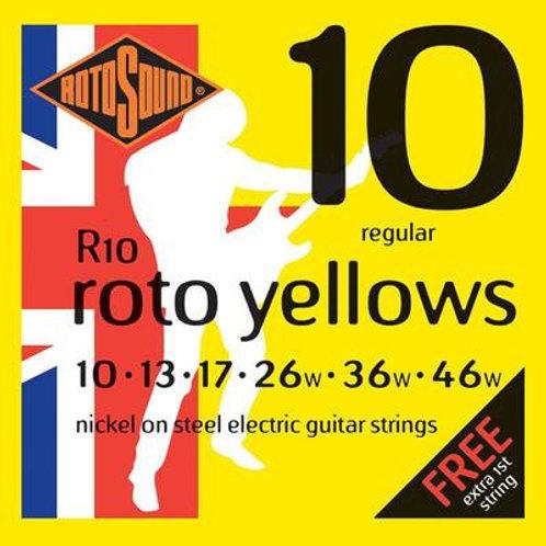 R10 Roto Yellow Nickel Electric Guitar Strings 10-46 Regular