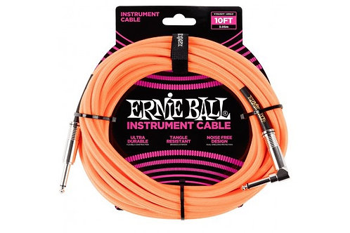 ERNIE BALL 10' BRAIDED STRT/ANGLE CABLE - ORANGE