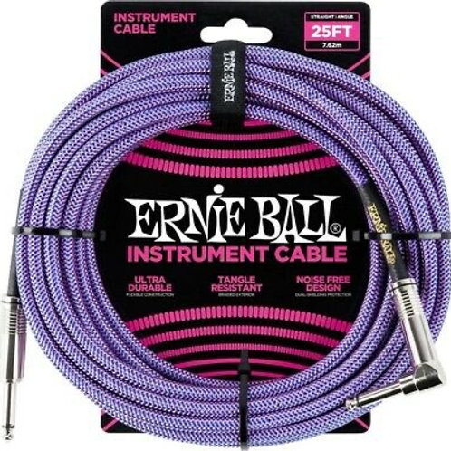 Ernie Ball instrument Cable 25FT STRT-ANGLE BRAIDED PURPLE-BLUE